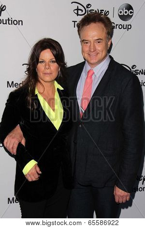 LOS ANGELES - MAY 19:  Marcia Gay Harden, Bradley Whitford at the Disney Media Networks International Upfronts at Walt Disney Studios on May 19, 2013 in Burbank, CA