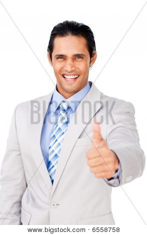 Young Businessman With Thumb Up Celebrating A Victory