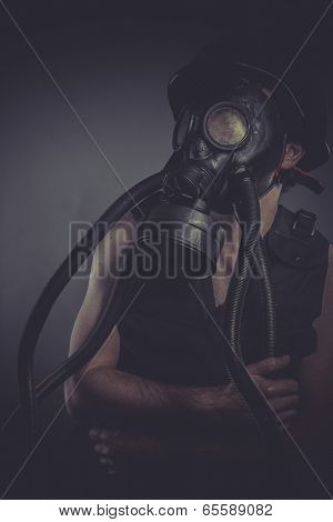 Industrial, nuclear and toxicological disaster ,man with gas mask