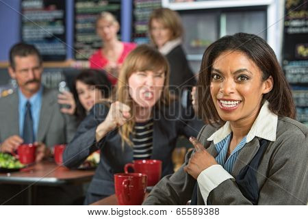 Lady Pointing At Angry Person