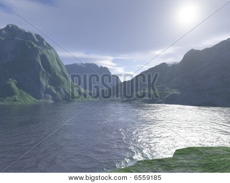 Computer Generated Mountain Lake View