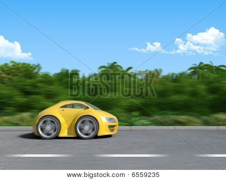 Yellow sportcar on the road