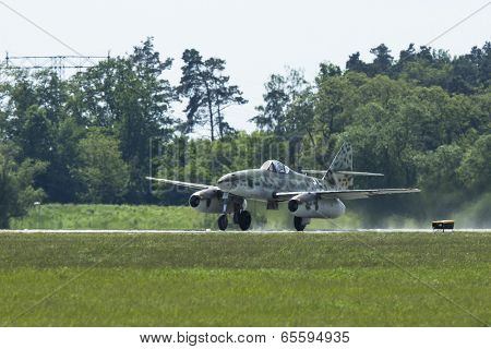 BERLIN, GERMANY - MAY 21, 2014: Messerschmitt Me 262 (Germany) demonstration during the International Aerospace Exhibition ILA Berlin Air Show-2014.