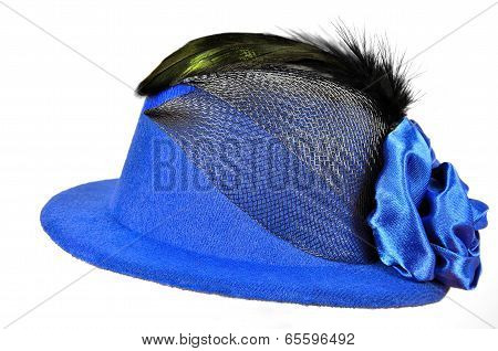 Vintage Blue Lady's Hat With Black Feathers
