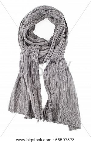 a scarf is grey strung on a knot on a white background