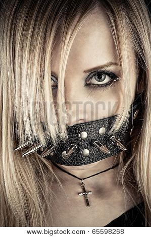 portrait of a slave in BDSM theme