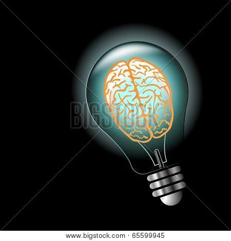 Luminous idea light bulb with brain inside