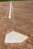 picture of tan lines  - Home plate with the third base line - JPG