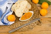 foto of loquat  - Freshly picked loquats and some homamade marmalade - JPG