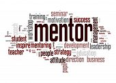 stock photo of mentoring  - Mentor word cloud image with hi - JPG