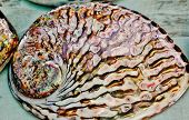 pic of mother-of-pearl  - Close up of polished abalone shell with mother of pearl - JPG