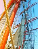 picture of big-rig  - Masts  of  sail ship with gradient effect - JPG