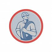 foto of lineman  - Metallic styled illustration of a power lineman telephone repairman worker holding wire cable over shoulder done in retro style set inside circle - JPG