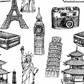 pic of statue liberty  - Sketch Eiffel tower Pisa tower Big Ben suitecase photocamera Chinese temple and Statue of Liberty vector vintage seamless pattern - JPG