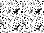 stock photo of silkscreening  - Coffee seamless pattern in traditional tattoo style - JPG