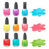 stock photo of nail paint  - bottles of different colors nail polish - JPG