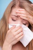 pic of sneezing  - Flu cold or allergy symptom - JPG
