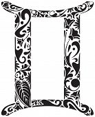 picture of gemini  - Gemini zodiac sign made of black floral elements - JPG