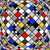picture of quadrangles  - Design monochrome warped diamond mosaic pattern - JPG