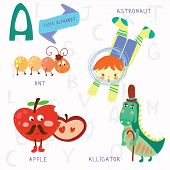 picture of alligator  - Alphabet design in a colorful style - JPG