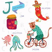 foto of jellyfish  - Alphabet design in a colorful style - JPG