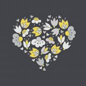 image of centerpiece  - Messy different colorful yellow gray flowers and hearts in heart shape on dark background with little dots retro romantic botanical centerpiece illustration - JPG