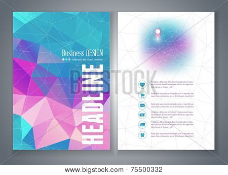 Vector flyer or brochure template with colorful geometric triangle background. Abstract modern trendy design.