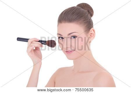 Portrait Of Young Beautiful Woman Applying Rouge Or Powder With Make Up Brush Isolated On White