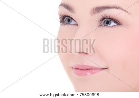 Close Up Portrait Of Young Beautiful Woman With Long Eyelashes Isolated On White