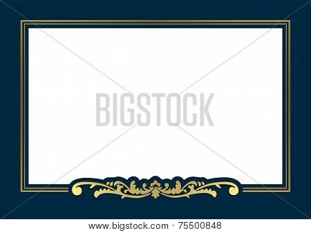 golden frame with blue background