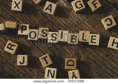 Words, possible. Toy bricks on the table