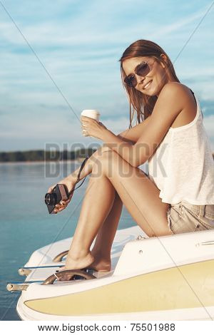 Boat Woman Smiling Happy Looking At The Sea