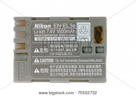 Hayward, CA - October 27. 2014: Nikon EN-EL3e Li-ion 1500mAh battery