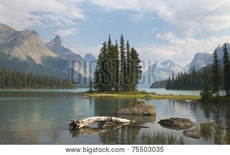 Spirit Island In Maligne Lake. Jasper. Canada
