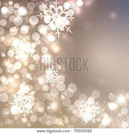 Abstract Christmas Card With White And Golden Shining Snowflakes And Lights, Beautiful Champagne