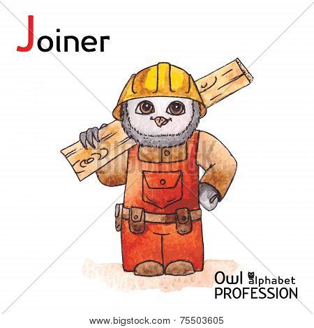 Alphabet professions Owl Letter J - Joiner Vector Watercolor.