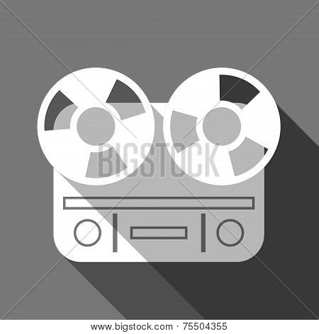 Flat long shadow reel tape recorder