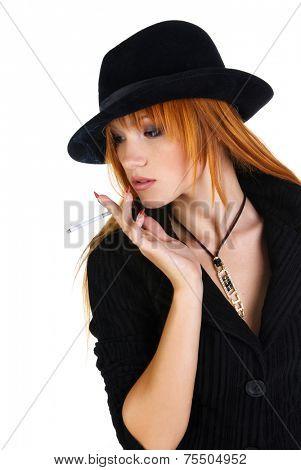 Model in hat like gangster