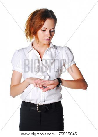 Manager with wristwatch