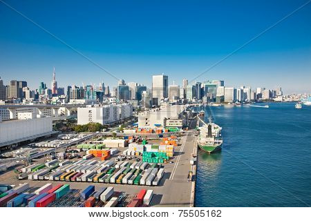 View on container ship in the harbor, Sumida River , Odaiba,  Tokyo , Japan.