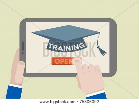 minimalistic illustration of a tablet computer with training scholar hat and hand pushing the join button, eps10 vector