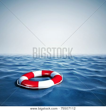 3d life buoy and blue ocean with blue sky background