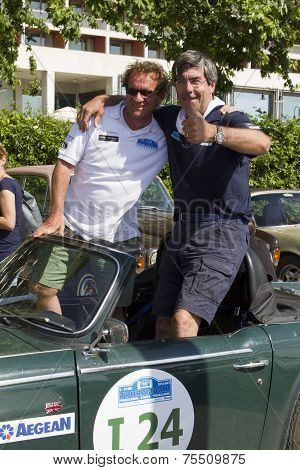 Participants Of The Rally Tour Amical In Their Car. A Classic Car Rally, In Thessaloniki, Greece.par