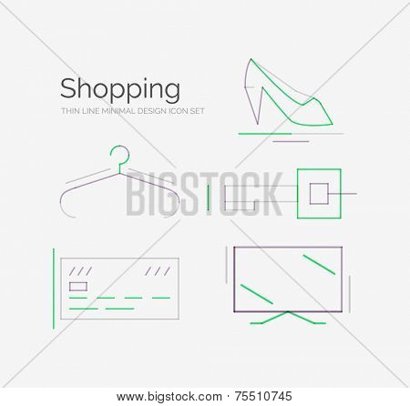 Outline design shopping icon collection, futuristic style