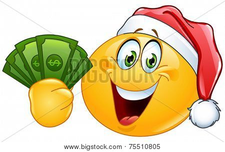 Yellow ball wearing Santa hat and holding dollar bills