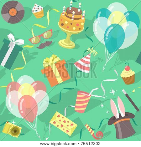 Birthday Party Celebration Seamless Pattern