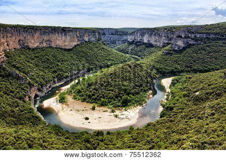 Bend of the river Ardeche near Vallon-Pont d'arc