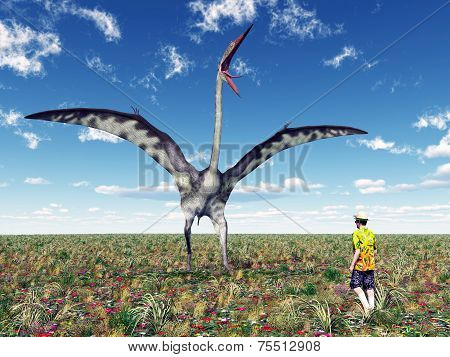 The Pterosaur Quetzalcoatlus and a Tourist