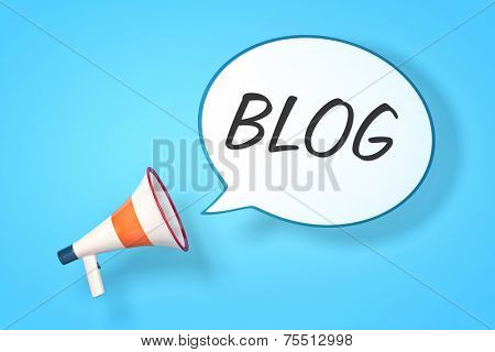 A megaphone with a speech bubble and the message blog