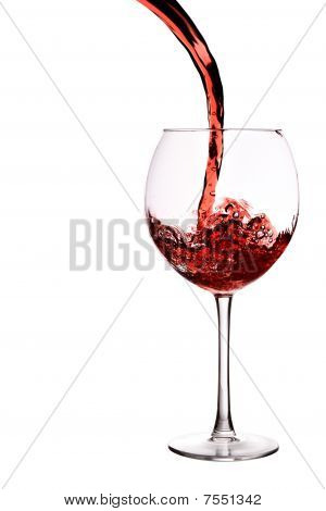 Glass Of Red Wine With Wave